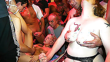 Amateur swingers gathered for a big partner swapping sex party