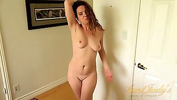 Amazing brunette babe Flower teasing and fingering her pussy in solo