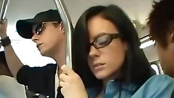 Stephanie got faciel with vibrator in her pussy on the bus