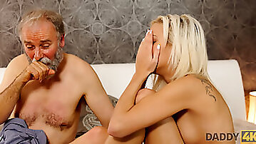 DADDY4K. Chick Ria Sun opens her mouth to suck old dads cock