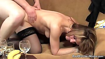 Slutty blonde woman got drunk and cheated on her partner with a guy she has just met