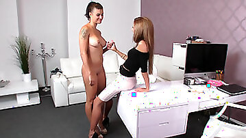 Busty model cums on agents tongue
