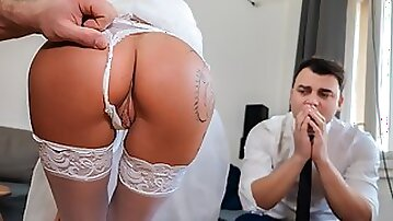 DEBT4k. Slutty wife cheats on husband for cash in front of him