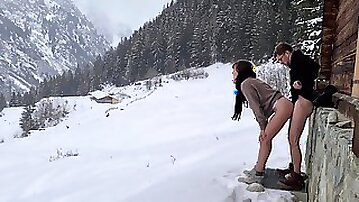 Couple Hide To Fuck While Hiking In The Snow Mountain Forest And Birdsong Romantic Intimate Love