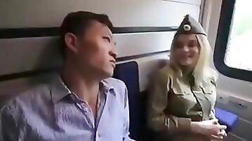AMWF Popova Vika Russian Woman Soldier B Cup Interracial Sex Korean Man