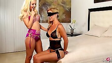 Tied BDSM-Lover Cherie DeVille Licked Lesbian Blonde Babe