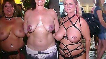 Kinky naked girls enjoying fetish bdsm wild party