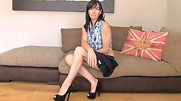 Dirty talking British mom takes it in both holes
