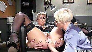 Blonde MILF lesbian gets anal banged
