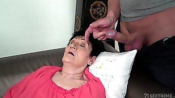 Mature short haired granny Anastasia seduced and fucked hardcore