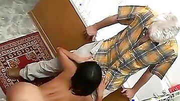 Slim korean nailed by an older man on a bathtub