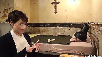 Lesbian nun makes siter worship her ass