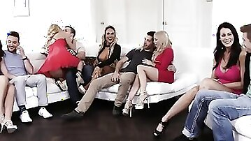 Busty Stepmoms Pounded Hard in Wild Group Action