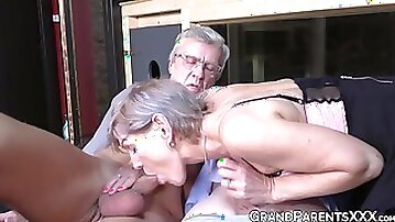 GRAND PARENTS XXX - Cute granny with natural tits sucks older men in threesome