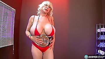 Cock riding action with extra-hot busty wrestling MILF