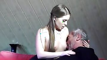OLDJE - Old Young Porn Little Girl Fucked Bald Grandpa in pussy