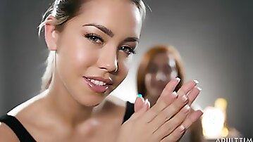 Lesbian oiled massage with two angels April ONeil and Alina Lopez