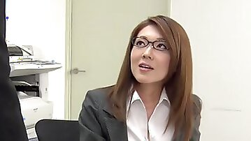 Too tired of office work Japanese lady Mao Saitou plays with her shaved pussy