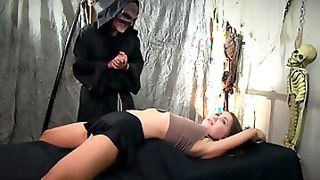 Small Titted Chick Was Enjoying While Being Tied Up And Tortured In Her Neighbors Basement
