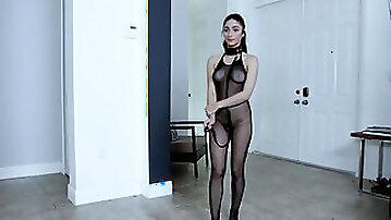 Sex slave Jasmine Vega get rough & raw slammed in her fishnet bodysuit
