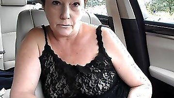 Mature tiny tit topless dare in car