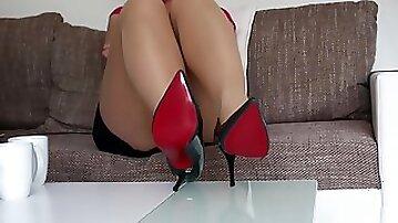 Anastasia nylon soles and heels footplay