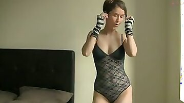 My slim and pretty paramour gives me a webcam show