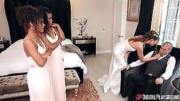Interracial girls help bride to calm down before wedding