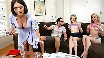Emma Starletto is into Mackenzie Moss and her stepbrother so she seduces them both into a threeway hardcore fuck fest