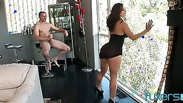 Leggy babe in shoes guzzles a dick and gets her anus destroyed