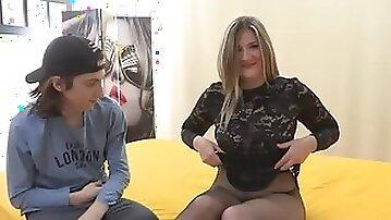 Spanish MILF in fishnet Blanca teasing on casting