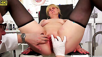 Obgyn exam of timid grannie by Freaky Doctor