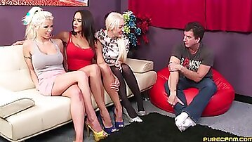 Amateur women sit clothed when faced with sharing cock