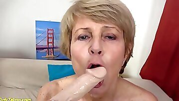 Ugly 75 years old grandma first time on video