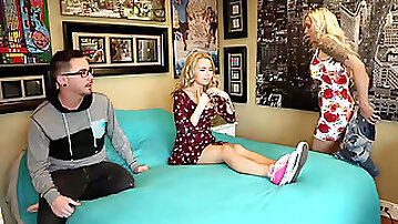Alina West losing her virginity in a threesome with stepmom Nina Elle