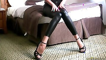 High heels and wet look leggings on a JOI babe