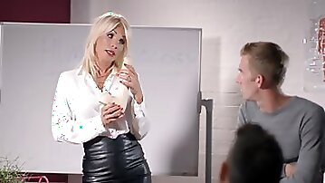 Busty blonde teacher shows us her cock sucking and fucking skills