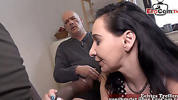 German Old Cuckold Man Show how To Fuck His Girlfriend with BBC