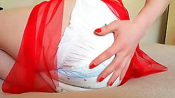 Diaper girl pee, diaper overflow, diaper