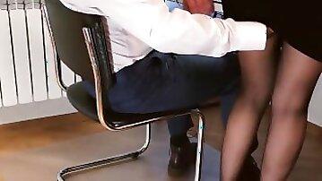 TEASER Sedducting secretary: ass fingering, sex, handjob, cum in pantyhose