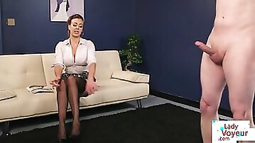Curvy UK milf teasing naked submissive