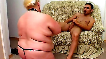 Fat blonde slave gets face fucked by her master
