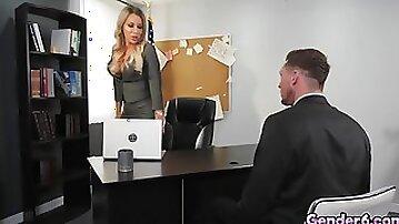 Hardcore tranny action in boss Marissa Minx office!
