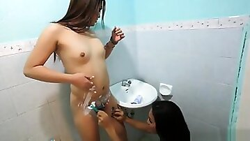 Shemale Asian teaser 2 trannies shave their cocks