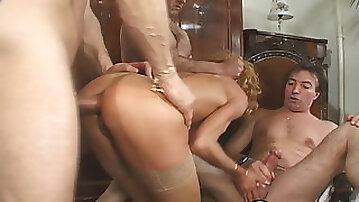 Skinny slut Suzie stretched by three raging dicks DP style