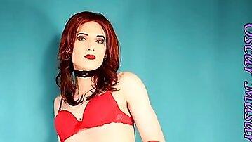 Redhead in red lingere, high heels & vintage stockings
