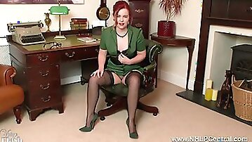 Redhead Anna Belle is your vintage nylon fetish consultant at the Jerk Off Club