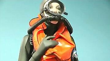 Rubber scuba goddess in beautiful vintage gear