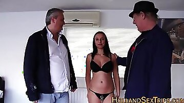 Busty hooker gets fucked by older dudes - old and young amateur hardcore