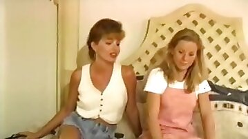 Lovely blonde vintage chicks fucked threesome